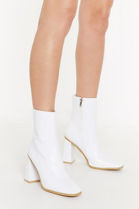 Nasty Gal Womens Faux Leather Heeled Boots with High Ankle - White