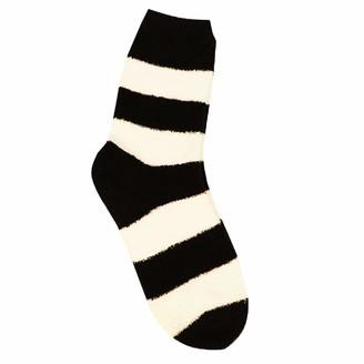 Rdchiclog Warm Fluffy Fuzzy Socks Winter Cozy Coral Fleece Slipper Thermal Striped Socks Nice XMAS Gift (Black)