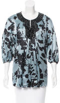 Magaschoni Embellished Floral Print Top
