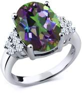 Gem Stone King 4.40 Ct Oval Green Mystic Quartz White Topaz 14K White Gold Ring