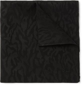 Saint Laurent Leopard-Print Silk-Twill Pocket Square