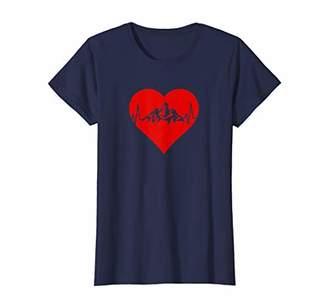 Womens Heartbeat Mountain Range Nature Lover Heart T-Shirt