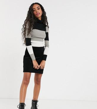 Brave Soul Petite squarey jumper with banded stripes in skinny rib