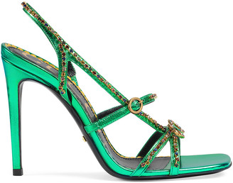 Gucci Metallic Strap Sandals in Jasmine Green | FWRD