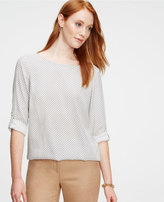 Ann Taylor Linked Crepe Roll Sleeve Top
