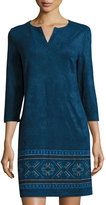 Neiman Marcus Embroidered Shift Faux-Suede Dress, Deep Blue