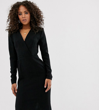 Asos Tall DESIGN Tall long sleeve plunge wrap midi dress-Black
