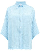 Balenciaga Logo-jacquard Polka Dot-print Silk Blouse - Womens - Light Blue