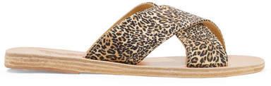 Ancient Greek Sandals Thais Leopard-print Satin And Leather Slides - Leopard print