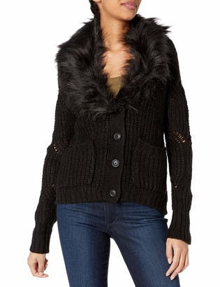 Jessica Simpson Women's Oaklyn Faux Fur Collar Cardigan Sweater