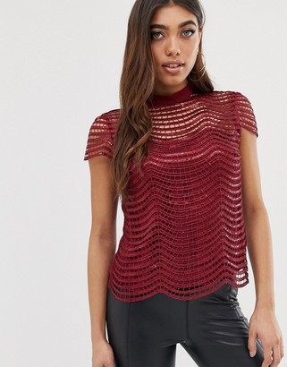 Lipsy scallop sequin top-Red