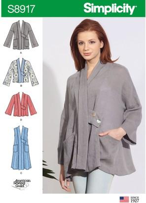 Simplicity Women's Swing Jackets Sewing Pattern, 8917