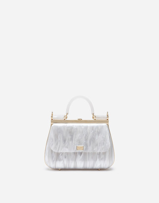 Dolce & Gabbana Sicily Box Bag In Mother-Of-Pearl Sint Glass