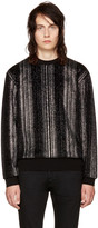 Saint Laurent Black Striped Glitter Sweatshirt