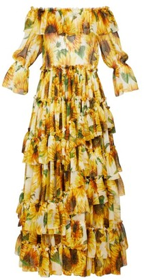 Dolce & Gabbana Sunflower-print Ruffle-tiered Silk-chiffon Gown - Yellow Multi