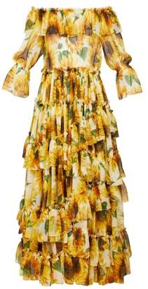 Dolce & Gabbana Sunflower-print Ruffle-tiered Silk-chiffon Gown - Yellow Multi
