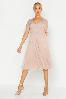 boohoo Embellished V Neck Midi Skater Bridesmaid Dress