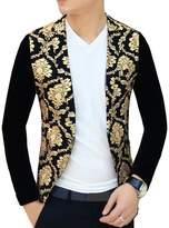 Ouye Men's Floral Casual Sport Coat Medium
