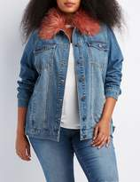 Charlotte Russe Plus Size Refuge Faux Fur-Trim Denim Jacket