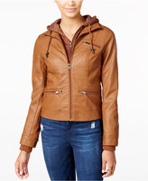 American Rag Knit-Hood Faux-Leather Jacket, Only at Macy's