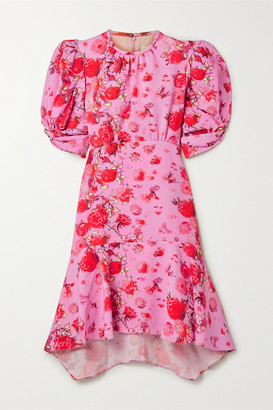 Peter Pilotto Ruffled Floral-print Jacquard Dress - Pink