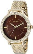 Nine West Women's NW/1832BNGB Swarovski Crystal Accented Gold-Tone Mesh Bracelet Watch