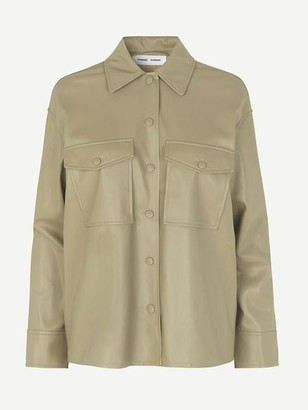 Samsoe & Samsoe Shereen Faux Leather Overshirt Olive Grey - S