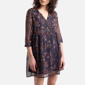 Vero Moda Floral Print V-Neck Dress with 3/4 Length Sleeves