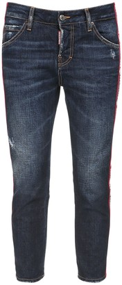 DSQUARED2 Cotton Denim Skinny Jeans W/logo Band