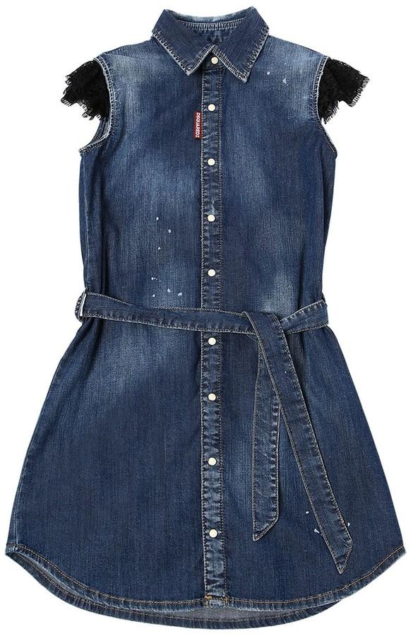 DSQUARED2 Stretch Cotton Denim Dress W/lace Insert