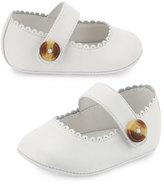 Burberry N1-Hounsett Newborn Leather Mary Jane, Optic White