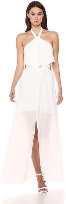 Ali & Jay Women's Beach Club Halter Popover Long TIE Back Maxi Dress