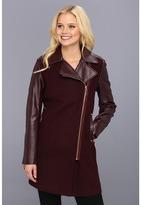 Vince Camuto Asymmetrical Coat w/ Faux Leather (Plum) - Apparel