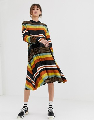 GHOSPELL midi dress with tie waist in bold stripe