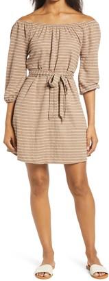 Bobeau Gertrude Stripe Belted Pique Dress