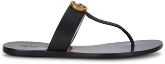 Gucci Marmont Black Leather Sandals