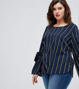 Junarose Striped Woven Top With Tie Sleeve