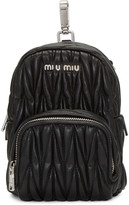 Miu Miu Black Leather Mini Matelassé Backpack