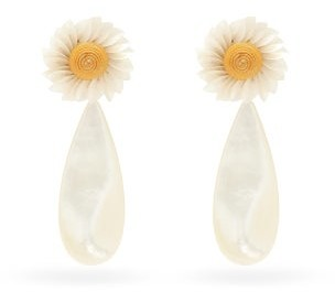 Lizzie Fortunato Fresh Cut Daisy Gold-plated Drop Earrings - Pearl