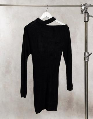 AX Paris cut out shoulder sweater dress in black