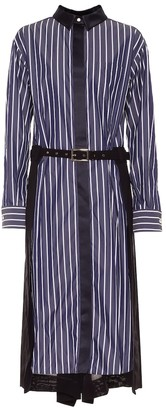 Sacai Striped cotton-blend shirt dress