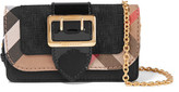 Burberry Canvas-trimmed Patent And Textured-leather Shoulder Bag - Black