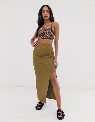 Asos Design DESIGN twist knot rib maxi tube skirt-Green