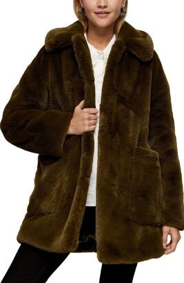 Topshop Eddie Faux Fur Coat