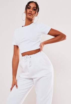 Missguided Petite White Rib Corset Bust Detail Crop Top