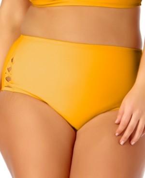California Waves Plus Size Cutout High-Waist Bikini Bottoms Women's Swimsuit