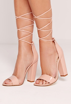 Missguided Barely There Wrap Around Block Heels Nude