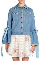 Fendi Lace-Up Bell Sleeve Wool & Silk Denim Jacket