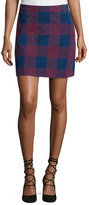 MiH Jeans Morro Embroidered-Plaid Mini Skirt, Blue