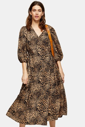 Topshop Natural Animal Print Kimono Wrap Midi Dress